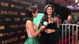 Sushmita Sen interviewed at the 65th Miss Universe Red Carpet
