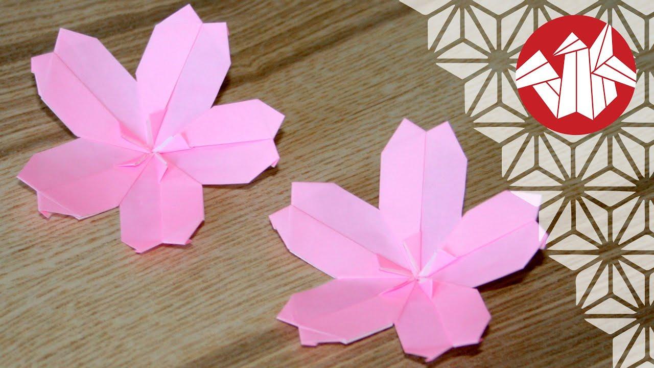 tuto origami sakura fleur de cerisier senbazuru youtube. Black Bedroom Furniture Sets. Home Design Ideas