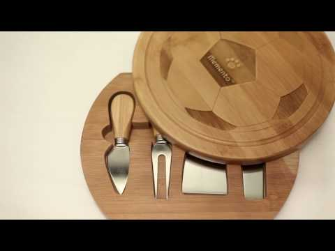 Memento 100% Organic Bamboo - LIMITED EDITION Round SlideOut Football Cheeseboard