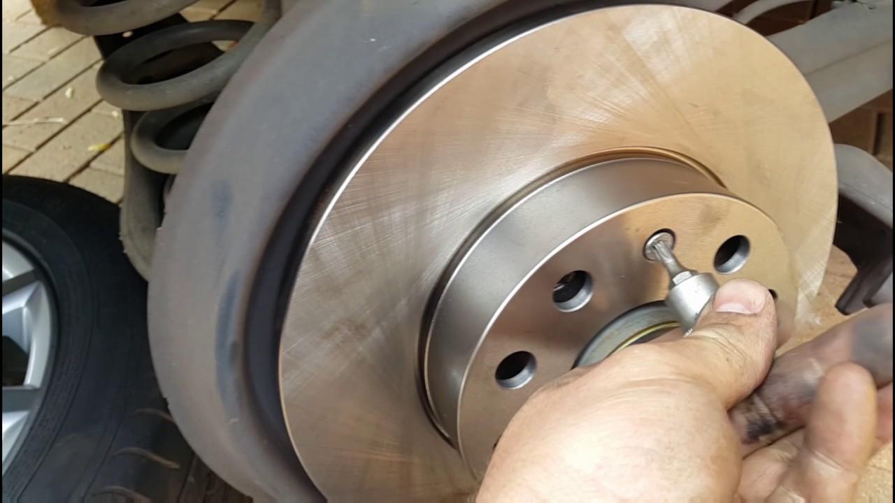 When To Replace Brake Rotors >> Replacing rear brake pads and disc on Vw jetta 5 1.9 tdi / vw bora / vw rabbit / - YouTube