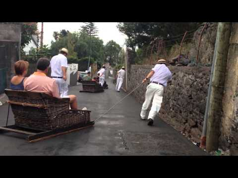 Toboggan Ride on Madeira Island, Portugal