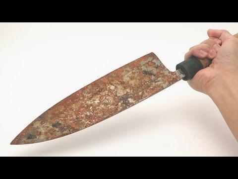 Manually repair very rusty Japan's $500 kitchen knife