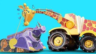 ЖИРАФ КРАН спасает Джонни и НОСОРОГ САМОСВАЛ из зыбучего песка - мультфильмы с машинами и животными
