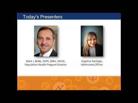 Graduate Programs in Population Health Management Virtual Open House February 2018