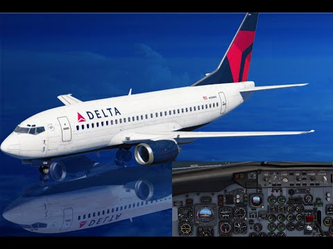 delta-airlines-boeing-b737-500-approach-and-landing-at-half-moon-bay-in-california,-usa