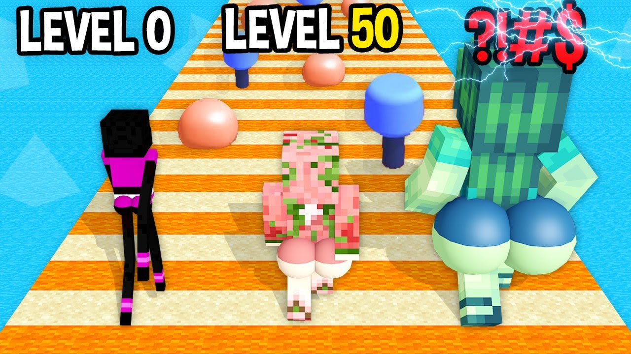 Monster School: Bounce Big Mobile Game Max Level LVL Noob Pro Hacker  - Minecraft Animation