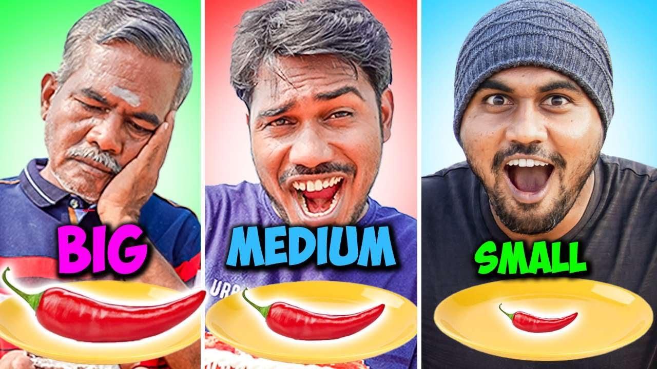 Small Medium Big Food Challenge | Chilli