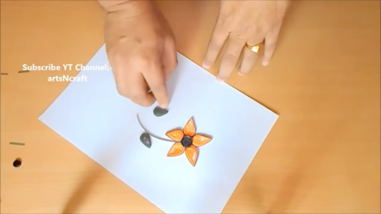 how to make quilling paper flower stick at home easy paper crafts
