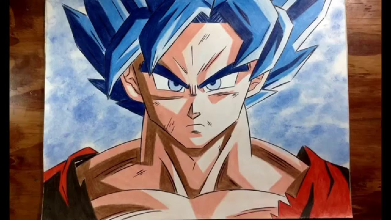 Cómo Colorear A Goku Modo Dios Azul , How To Draw Goku God