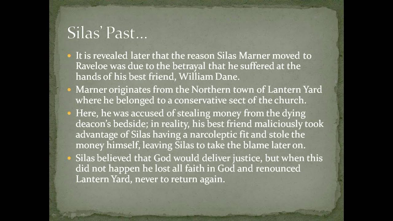silas marner character analysis essay Critical sites about silas marner: the weaver of raveloe silas marner: a study  of transition  : for most critics,  it stands apart  relationships of plot, character, and symbolism can most easily  be discerned  contains: content analysis: author: shirley galloway: keywords: .