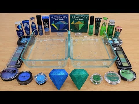 Blue vs Green - Mixing Makeup Eyeshadow Into Slime Special Series 210 Satisfying Slime Video