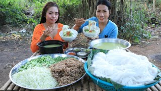 How to cook traditional Khmer noodle with fish soup recipe