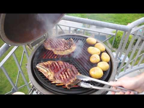 Tbone steak on Cast Iron Grates in a Kamado