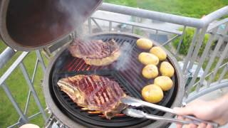 Tbone steak on Cast Iron Grates in a Kamado