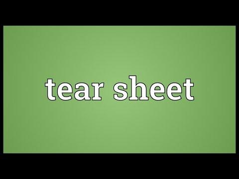 Tear sheet Meaning