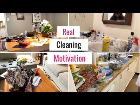 CLEANING MY DIRTY KITCHEN, LIVING ROOM AND MASTER BATHROOM | Clean With Me