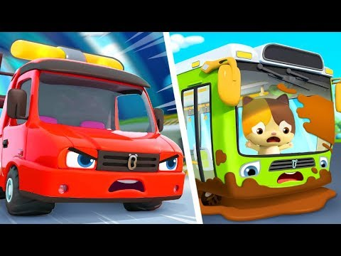 tow-truck-rescues-bus-|-fire-truck,-monster-truck,-police-car-|-kids-songs-|-kids-cartoon-|-babybus