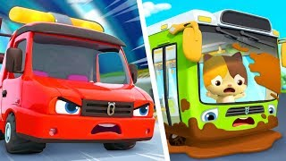 Tow Truck Rescues Bus | Fire Truck, Monster Truck, Police Car | Kids Songs | Kids Cartoon | BabyBus