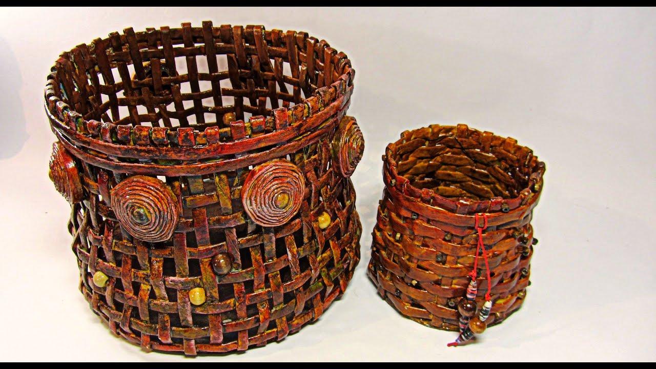 Como hacer cestas de papel peri dico newspaper basket - Cestas de papel de periodico ...