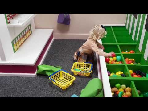 INDOOR CHILDRENS PLAY AREA / pretend kitchen shopping vets post office catwalk