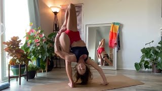 Advanced Yoga Flow with Bounding Revolving Standing Splits and Leg Behind Head