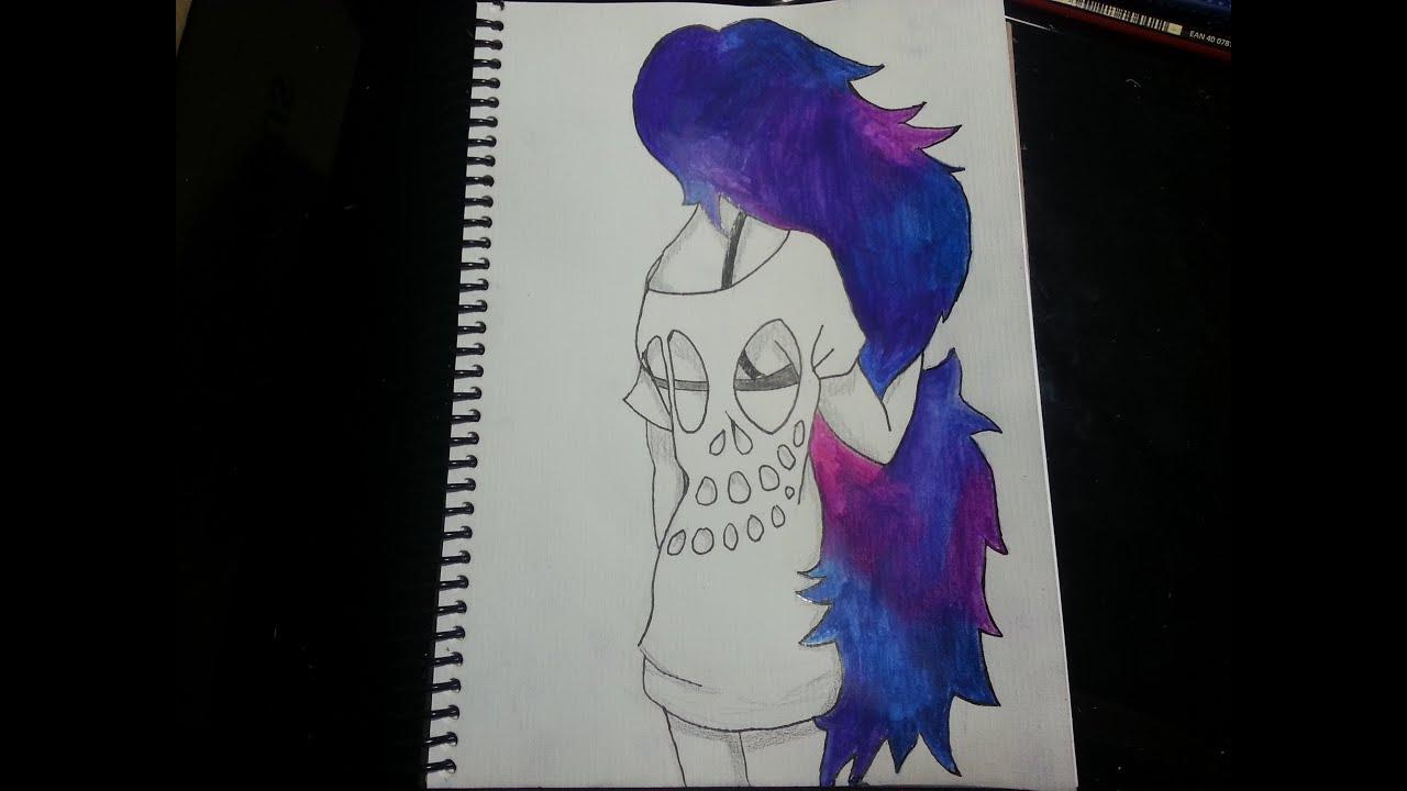 Como dibujar/pintar una chica con cabello de galaxia - YouTube