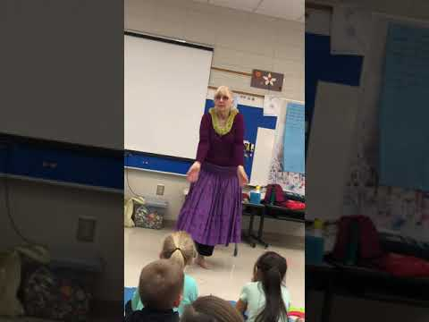 Kaleo Wheeler sharing a hula at the Fairforest Elementary School