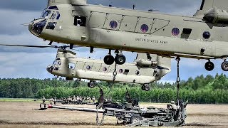 Chinook HEAVY LIFT Helicopter Sling Load MASSIVE M777 Howitzer