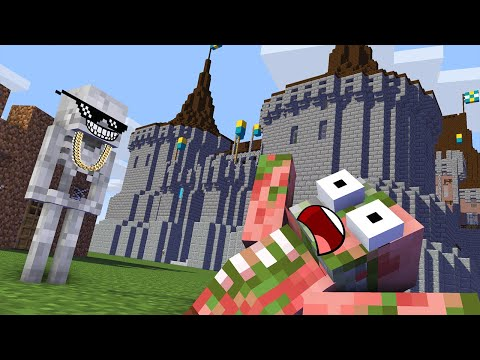 Monster School : BUILDING CASTLE Challenge - Minecraft Animation