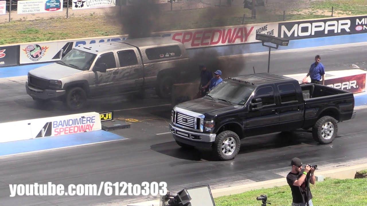 Ford Powerstroke Diesel vs Chevy Duramax Drag Race - YouTube