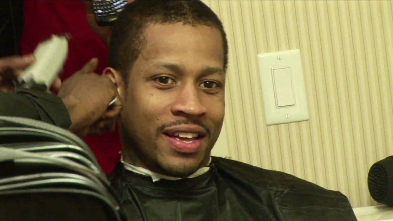 allen iverson cutting his hair!!