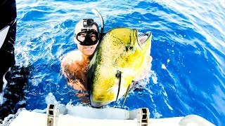 New Drone | Insane Day Deep Blue Water Spearfishing | Wahoo Catch And Cook - Ep 64