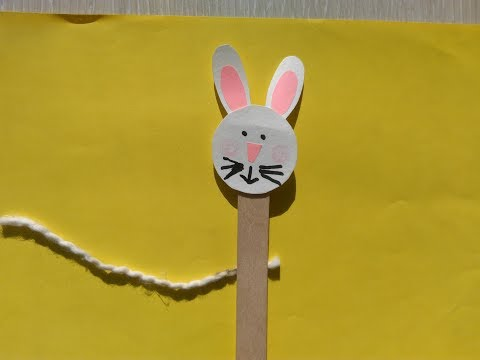 ★Handmade for children. How to make a bunny from sticks and cardboard.
