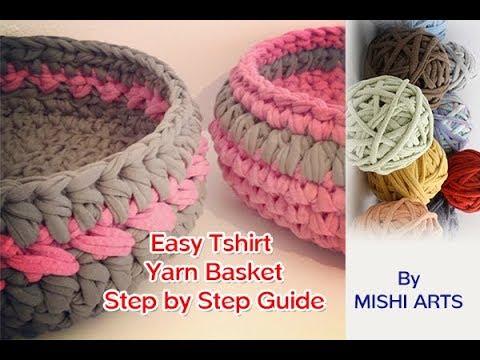 T Shirt Yarn Basket - Step By Step