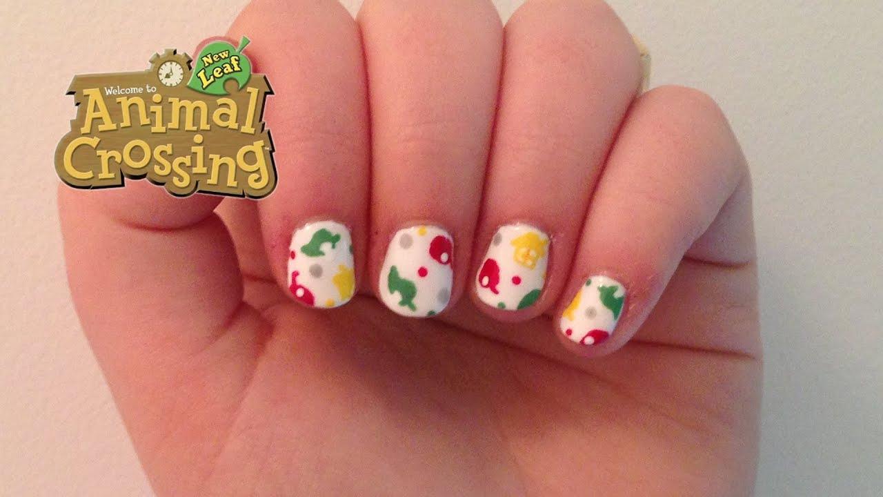 Animal Crossing Print Nail Art - YouTube