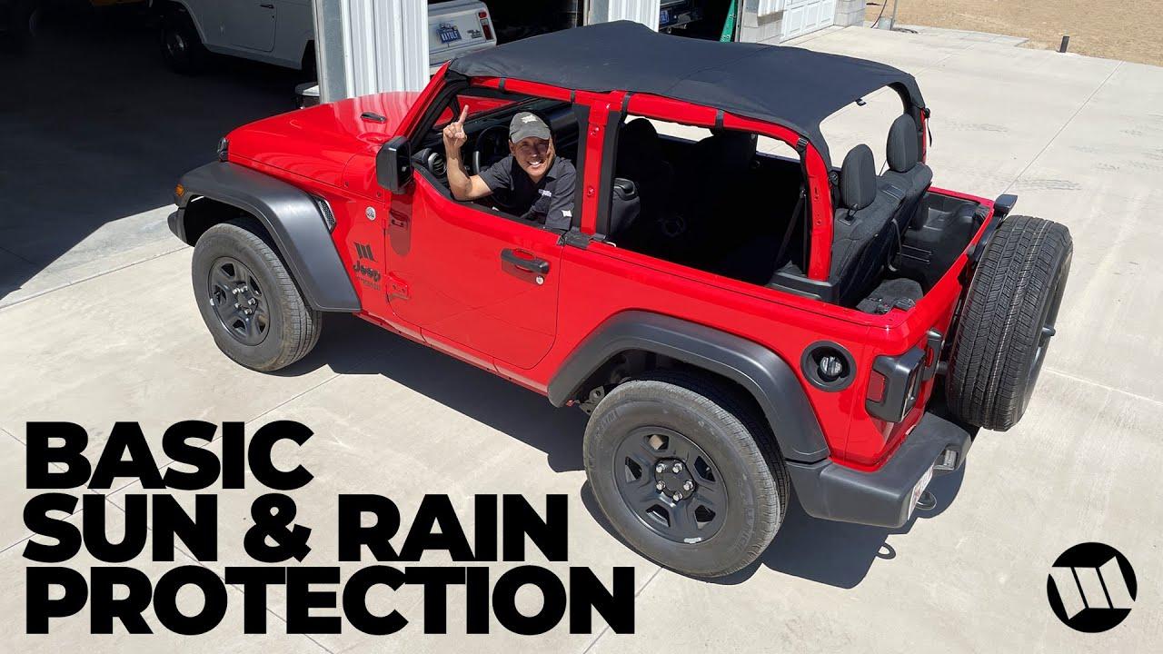 Basic Sun Shade and Rain Protection for a Jeep JL Wrangler - Rugged Ridge Savanah Brief Top Bikini