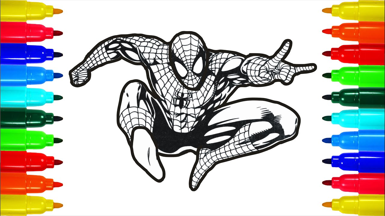The Marvel Spiderman In the jump coloring pages