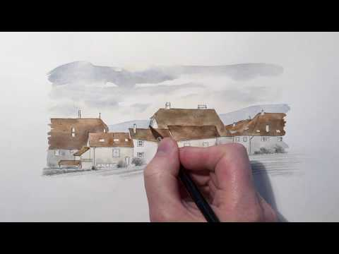 How to sketch and paint buildings. Watercolour landscape sketching demonstration.