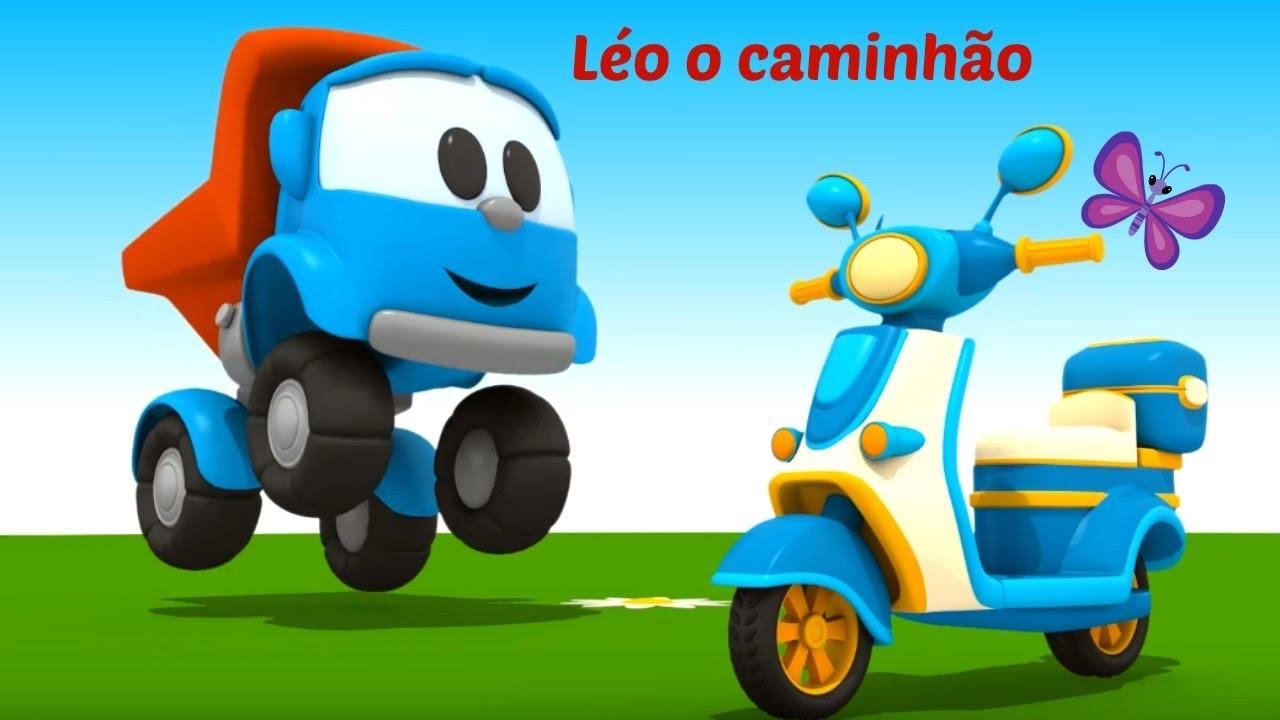 Leo O Caminhao Curioso Moto De Brinquedo Desenhos Animados