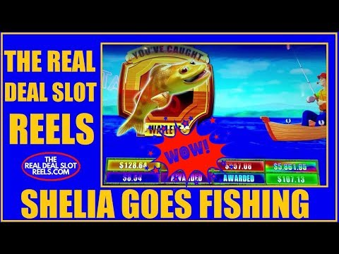 SHELIA GOES FISHING AND CATCHES A WALLEYE AT COUSHATTA CASINO (E-8)