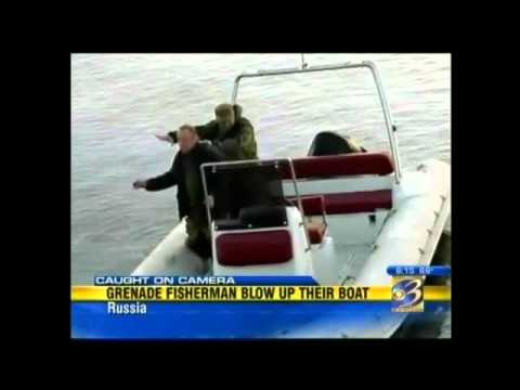 Men blow up their boat fishing with grenades youtube for Blow up boat for fishing