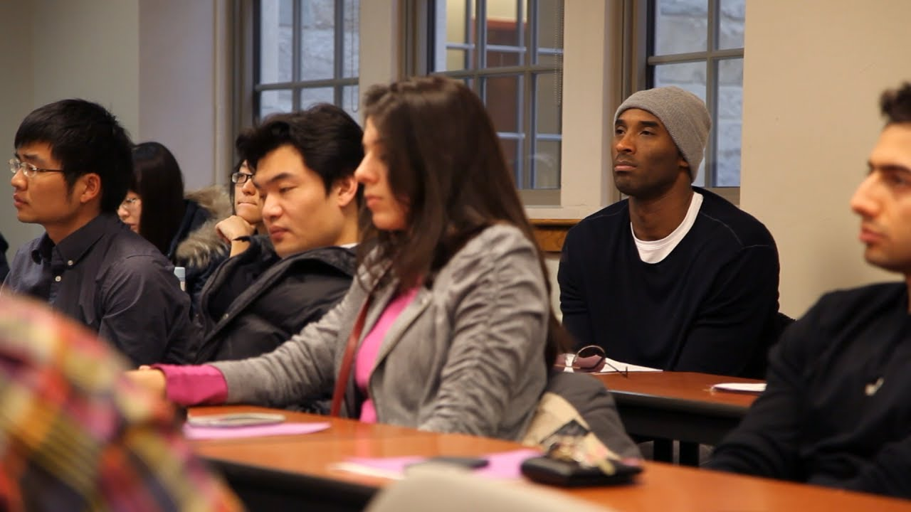kobe bryant takes 2nd class at boston college youtube