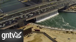 Aerial footage of Dubai Canal waterfall testing