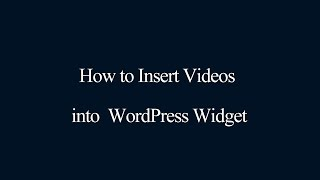 How to insert videos into WordPress Widget thumbnail