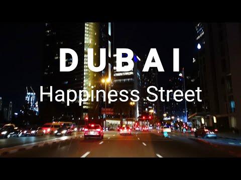 DUBAI – Driving along Happiness Street to The Dubai Mall