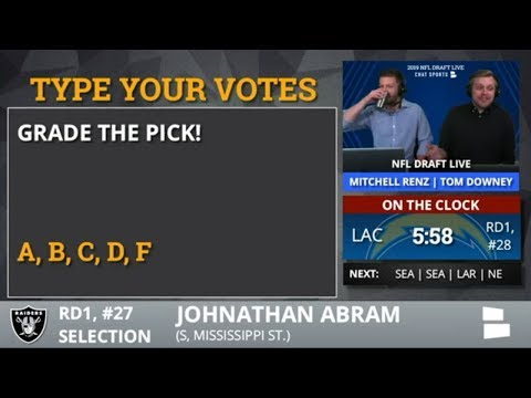 Oakland Raiders Select S Johnathan Abram From Mississippi St. With Pick #27 In The 2019 NFL Draft