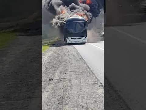 Горит автобус в аэропорту Домодедово
