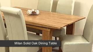 Milan Solid Oak Dining Table & 6 Ivory Leather Chairs