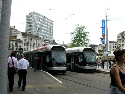 Tram watching at Nottingham City Center, England !