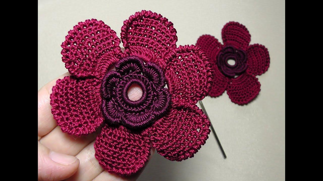 цветы крючком схема плоские